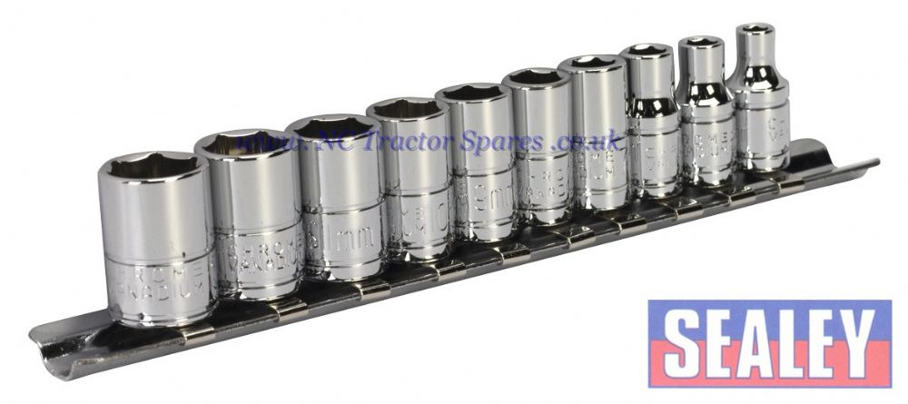 "Socket Set 10pc 1/4""Sq Drive 6pt WallDrive Metric"